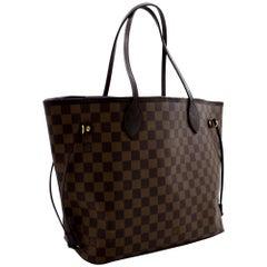 Louis Vuitton Damier Ebene Neverfull MM Shoulder Bag Canvas Leather