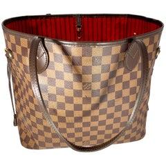 Louis Vuitton Damier Ebene Neverfull MM Shoulder Bag Canvas Purse Excellent