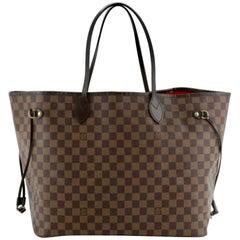 Louis Vuitton Damier Ebene Neverfull MM Shoulder Bag Canvas Purse.