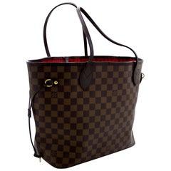 Louis Vuitton Damier Ebene Neverfull MM Shoulder Bag Canvas Purse Leather