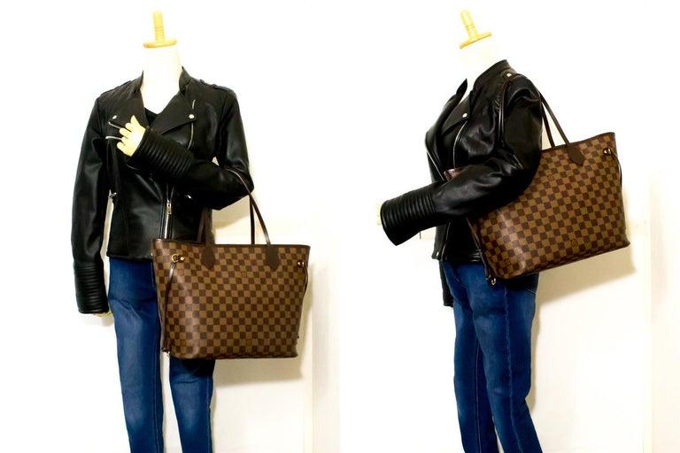 Louis Vuitton Damier Ebene Neverfull MM Shoulder Bag Canvas Tote For Sale 6