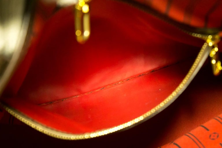 Louis Vuitton Damier Ebene Neverfull MM Shoulder Bag Canvas Tote For Sale 8