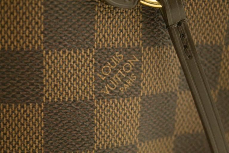 Louis Vuitton Damier Ebene Neverfull MM Shoulder Bag Canvas Tote For Sale 11
