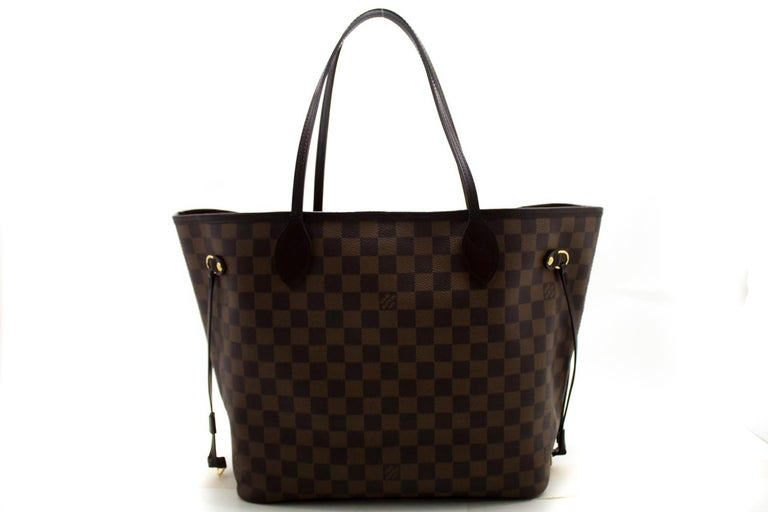 An authentic Louis Vuitton Damier Ebene Neverfull MM Shoulder Bag Canvas Tote. The color is Brown. The outside material is Canvas. The pattern is Damier. Conditions & Ratings Outside material: Canvas / Leather Main color: Brown Closure: