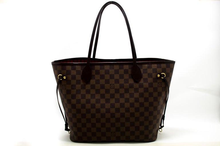 Black Louis Vuitton Damier Ebene Neverfull MM Shoulder Bag Canvas Tote For Sale