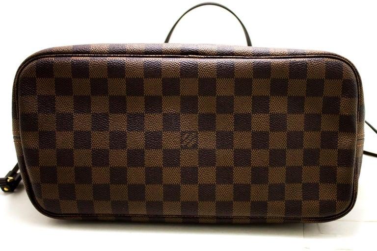 Louis Vuitton Damier Ebene Neverfull MM Shoulder Bag Canvas Tote For Sale 1