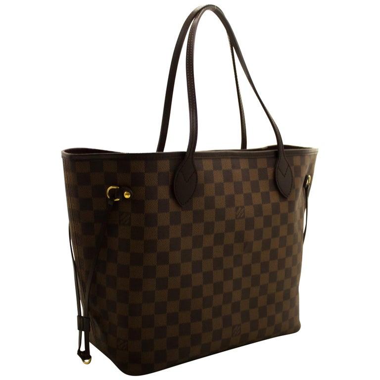 Louis Vuitton Damier Ebene Neverfull MM Shoulder Bag Canvas Tote For Sale