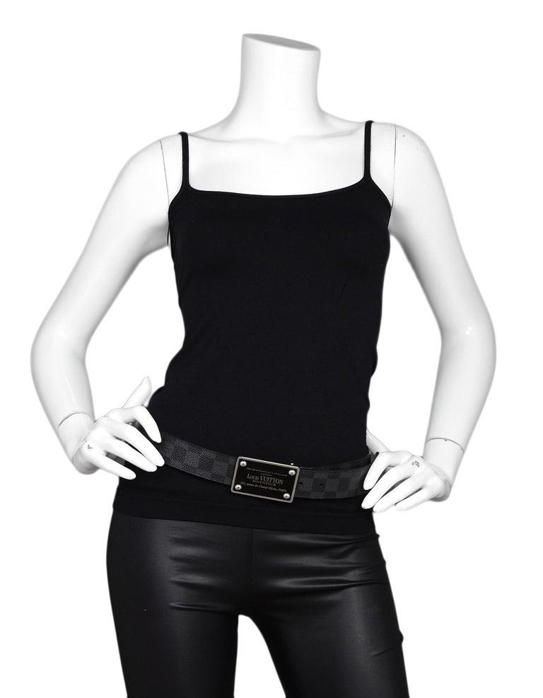 Black Louis Vuitton Damier Graphite 35mm Inventeur Reversible Belt sz 85cm/34