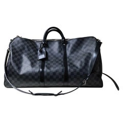 Louis Vuitton Damier Graphite Canvas Keepall Bandouliére 55 Travel Bag