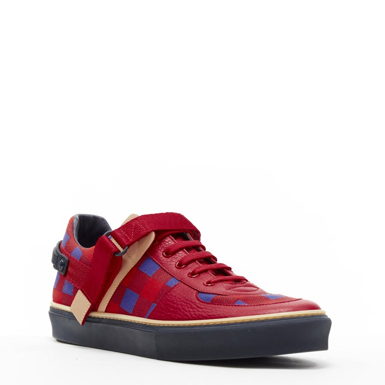 LOUIS VUITTON Damier Masai red blue checked leather low top sneakers UK7  Brand: Louis Vuitton Model Name / Style: Damier sneaker Material: Leather Color: Red Pattern: Check Closure: Lace up Extra Detail: Comes with red spare laces. Flat (Under 1
