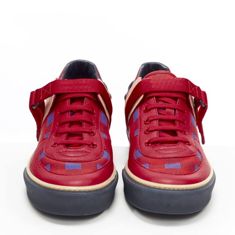 Brown LOUIS VUITTON Damier Masai red blue checked leather low top sneakers UK7 For Sale