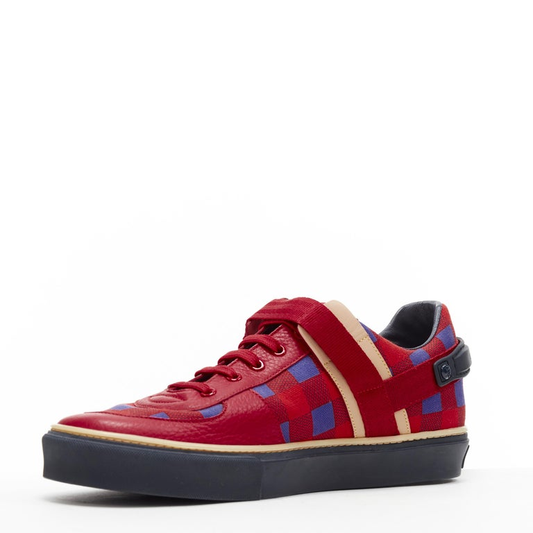 LOUIS VUITTON Damier Masai red blue checked leather low top sneakers UK7 In New Condition For Sale In Hong Kong, NT