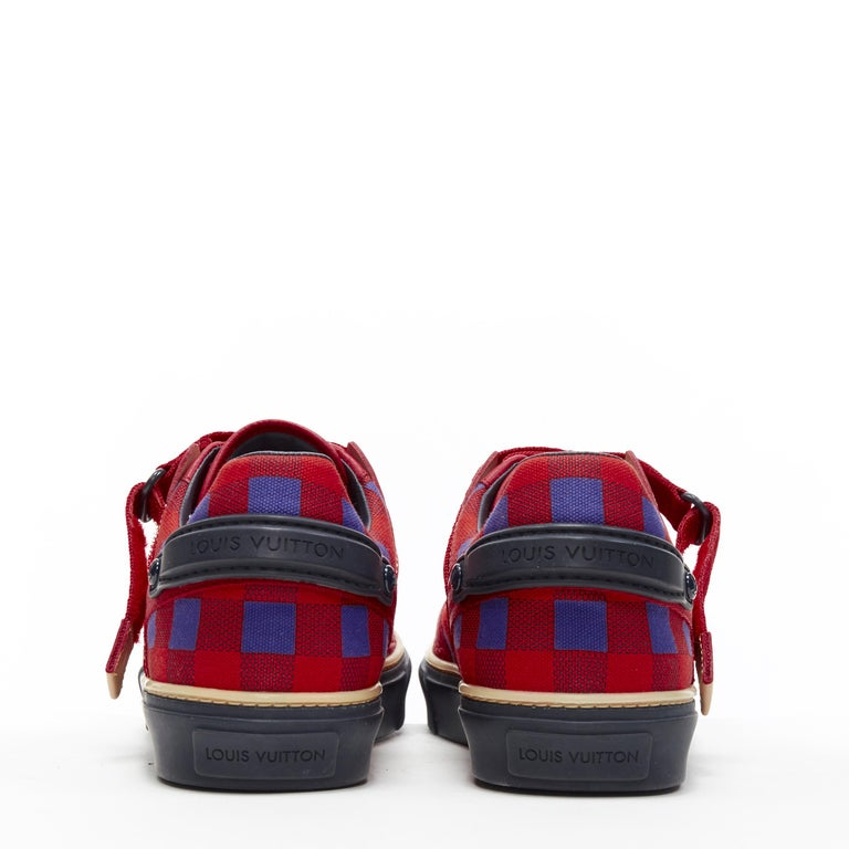 Men's LOUIS VUITTON Damier Masai red blue checked leather low top sneakers UK7 For Sale