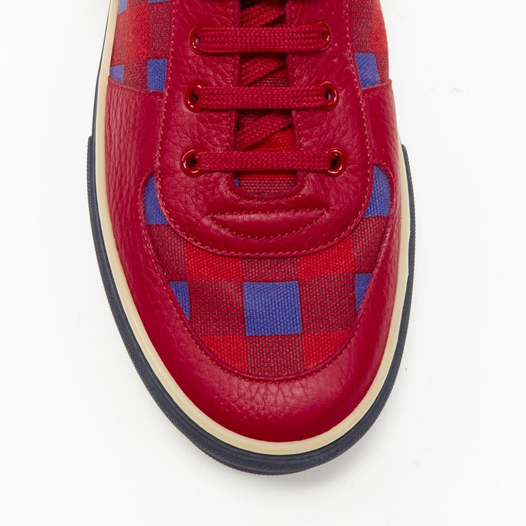 LOUIS VUITTON Damier Masai red blue checked leather low top sneakers UK7 For Sale 2