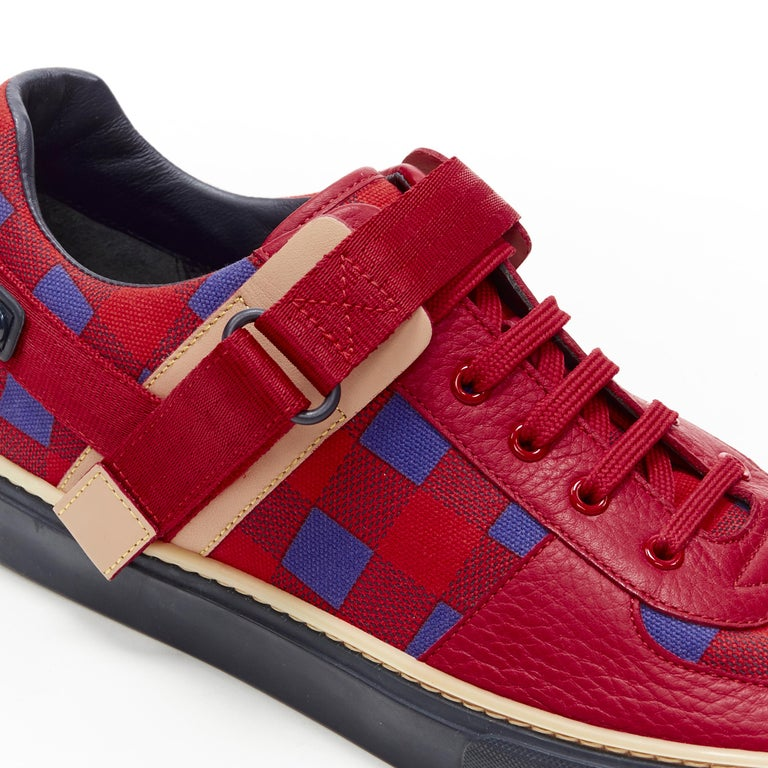 LOUIS VUITTON Damier Masai red blue checked leather low top sneakers UK7 For Sale 3