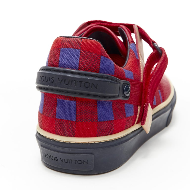 LOUIS VUITTON Damier Masai red blue checked leather low top sneakers UK7 For Sale 4