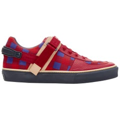 LOUIS VUITTON Damier Masai red blue checked leather low top sneakers UK7