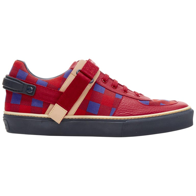 LOUIS VUITTON Damier Masai red blue checked leather low top sneakers UK7 For Sale