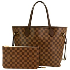 LOUIS VUITTON Damier Neverfull MM Rose Ballerine N41603 with pouch And receipt