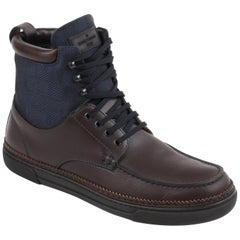 "LOUIS VUITTON ""Damier"" Paneled Navy Brown Canvas & Leather Lace Up Work Boots"