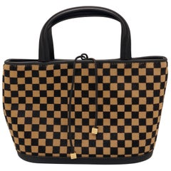 Louis Vuitton Damier Sauvage Impala Tote Handbag of Brown & Tan Pony Hair