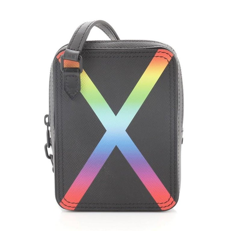 Gray Louis Vuitton Danube Messenger Bag Rainbow Taiga Leather For Sale