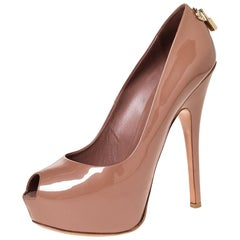 Louis Vuitton Dark Beige Patent Leather Peep Toe Platform Pumps Size 40.5