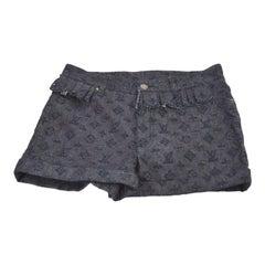 Louis Vuitton Dark Blue Cotton Denim LV Logo Women's Booty Hot Pants Shorts