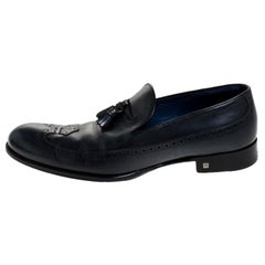 Louis Vuitton Dark Blue Leather Tassel And Brogue Detail Loafers Size 42.5