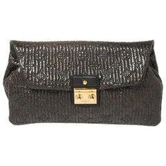 Louis Vuitton Dark Brown Monogram Patent Leather Limited Edition Motard Clutch