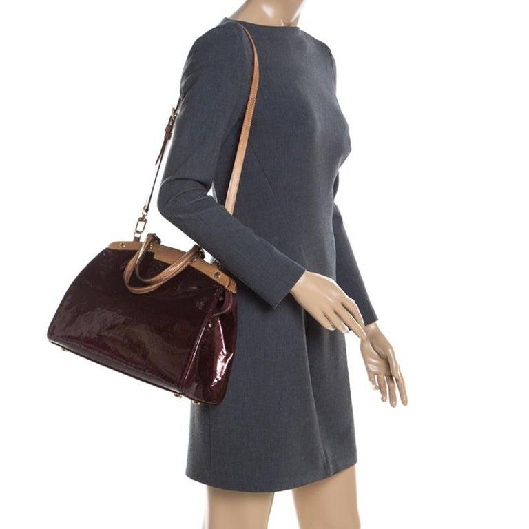 Black Louis Vuitton Dark Brown Monogram Vernis Brea MM Bag For Sale