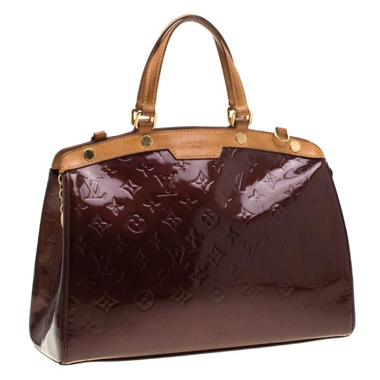 Louis Vuitton Dark Brown Monogram Vernis Brea MM Bag In Fair Condition For Sale In Dubai, Al Qouz 2