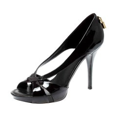 Louis Vuitton Dark Brown Patent Leather  Open Toe Platform Pumps Size 38.5