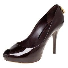 Louis Vuitton Dark Brown Patent Oh Really! Peep Toe Platform Pumps Size 38