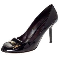 Louis Vuitton Dark Burgundy Logo Embellished Round Toe Pumps Size 41