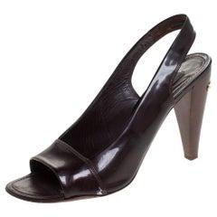 Louis Vuitton Dark Burgundy Patent Leather Open Toe Slingback Sandals Size 40