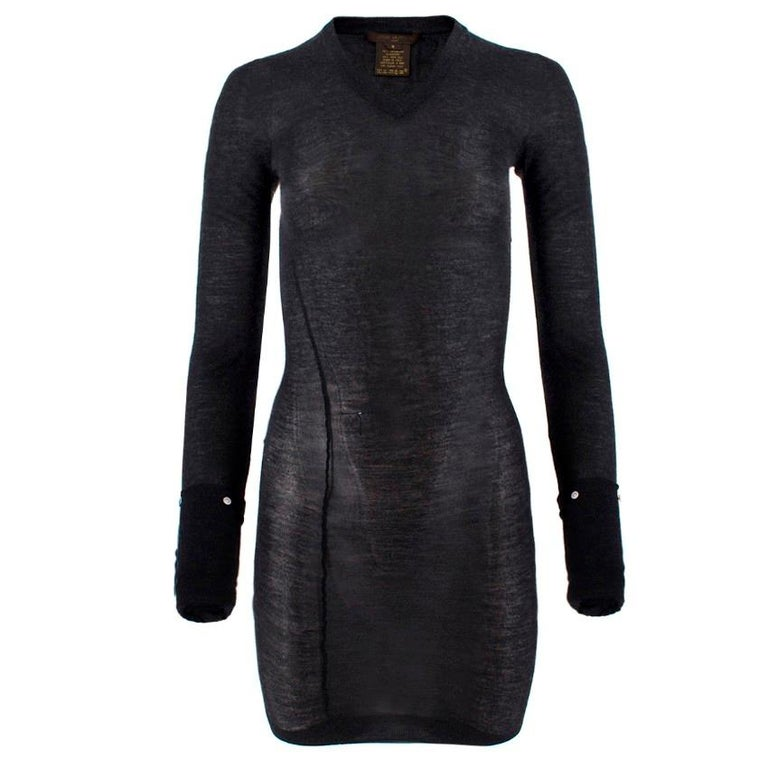 Louis Vuitton Dark Grey Cashmere Blend Long-Sleeved Dress.  - 70% Cashmere / 30% silk Really lightweight, sheer and soft - Over exaggerated long sleeves, with the option of wearing them ruched - V-neck  - Ribbed neck, cuffs & hem - Stretch to