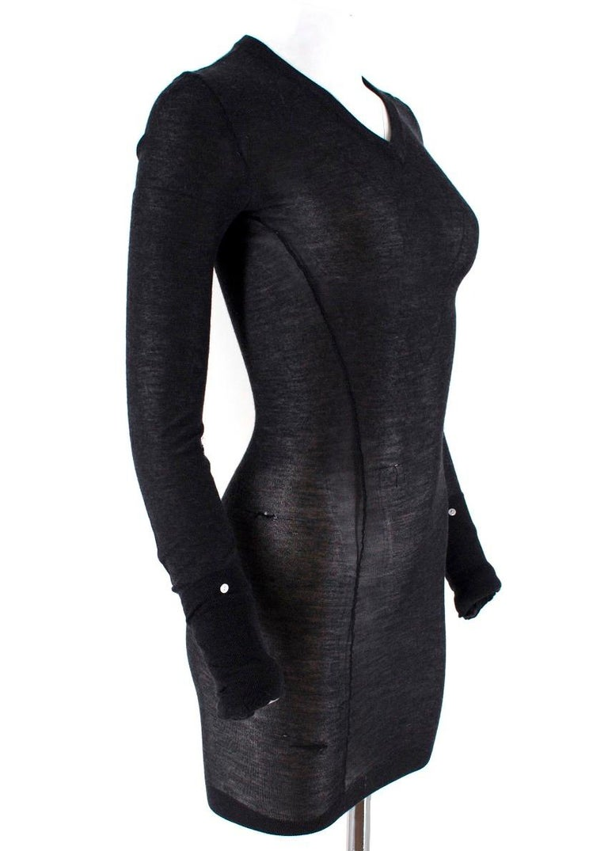 Black Louis Vuitton Dark Grey Cashmere Blend Long-Sleeved Dress US 6 For Sale