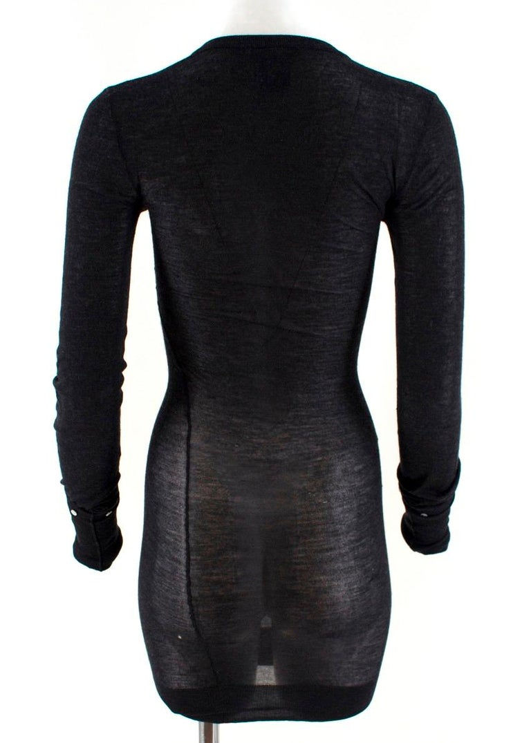 Louis Vuitton Dark Grey Cashmere Blend Long-Sleeved Dress US 6 In Good Condition For Sale In London, GB
