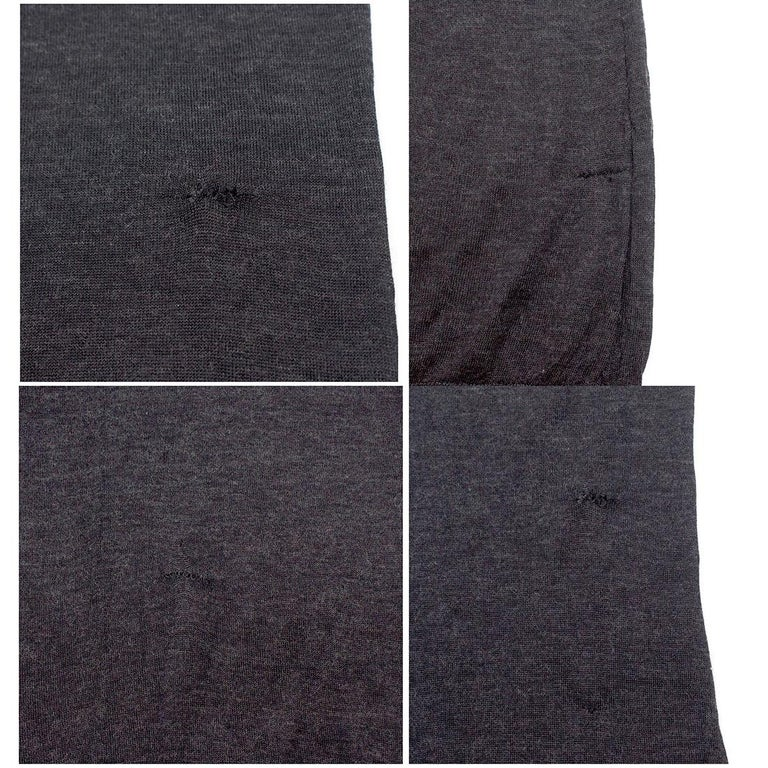 Louis Vuitton Dark Grey Cashmere Blend Long-Sleeved Dress US 6 For Sale 4
