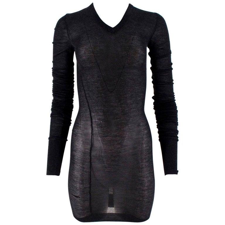 Louis Vuitton Dark Grey Cashmere Blend Long-Sleeved Dress US 6 For Sale