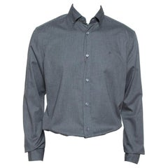 Louis Vuitton Dark Grey Textured Cotton Button Front Shirt XL