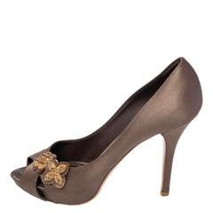 Louis Vuitton Dark Olive Satin Athen Open Toe Pumps Size 39