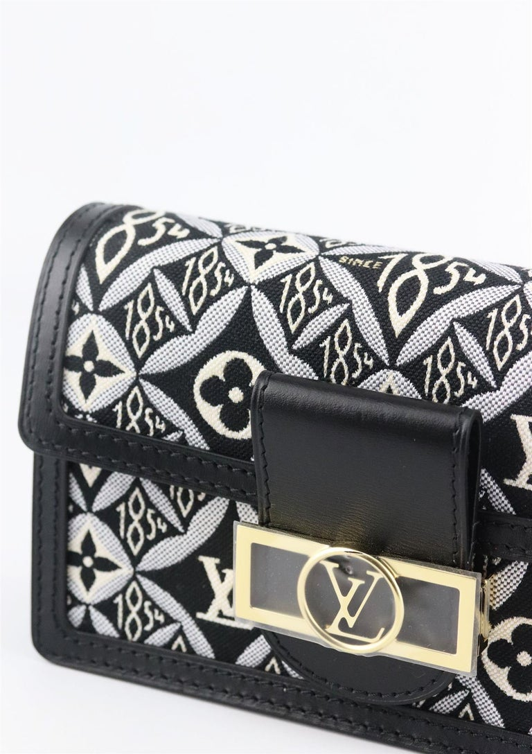 Women's Louis Vuitton Dauphine 1854 MM Leather Trimmed Canvas Wallet On Chain Bag For Sale