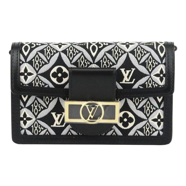 Louis Vuitton Dauphine 1854 MM Leather Trimmed Canvas Wallet On Chain Bag For Sale