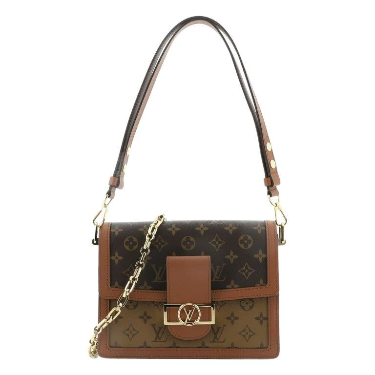 Louis Vuitton Dauphine Shoulder Bag Reverse Monogram Canvas MM For Sale