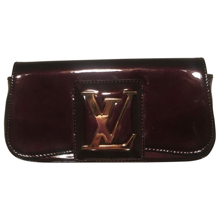 Louis Vuitton Deep Plum Aramante SoBe Patent Leather Clutch For Sale