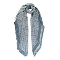 Louis Vuitton Denim Blue Silk & Wool Shawl