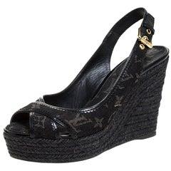 Louis Vuitton Denim Monogram Bastille Espadrilles Slingback  Sandals Size 38.5