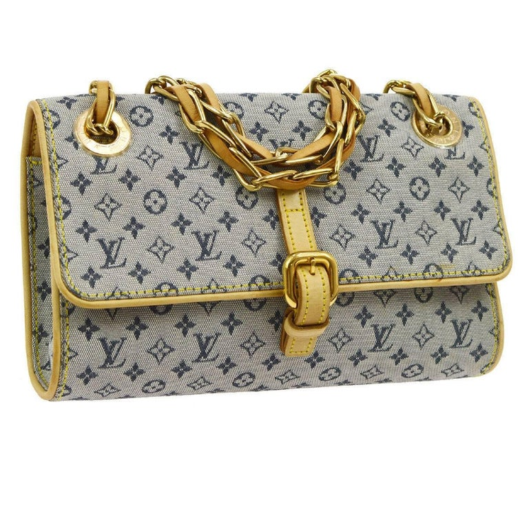 Louis Vuitton Denim Monogram Leather Gold Chain Crossbody Flap Shoulder Bag